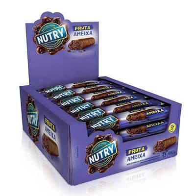 Barra de Cereais Ameixa e Chocolate 24 unidades de 20g Nutry caixa CX