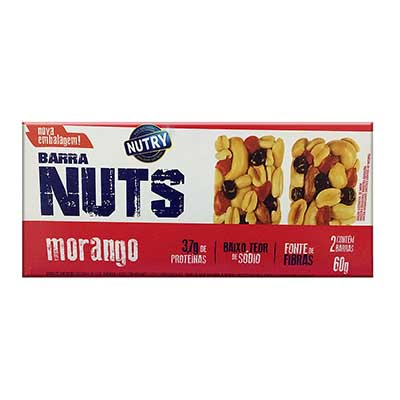 Barra de cereais nuts sabor morango caixa 2 unidades de 30g Nutry CX