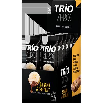 Barra de cereais zero banana e chocolate 12 unidades de 20g Trio caixa CX