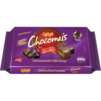 Barra de chocolate ao leite em barra para cobertura 1,01kg Chocomais  UN