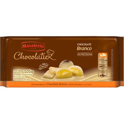 Barra de chocolate branco 1kg Mavalerio UN