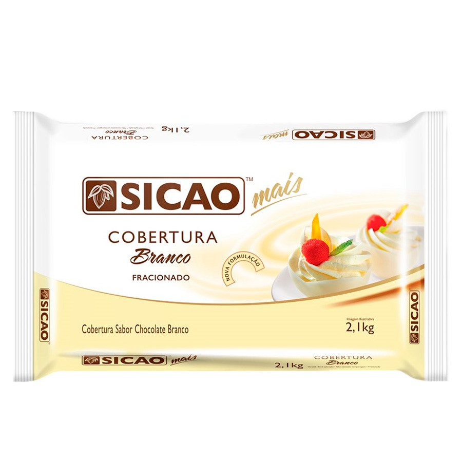Barra de chocolate branco 2,05kg Sicao Mais  UN