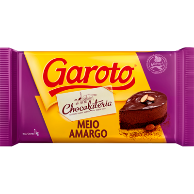 Barra de chocolate meio amargo 1kg Garoto UN