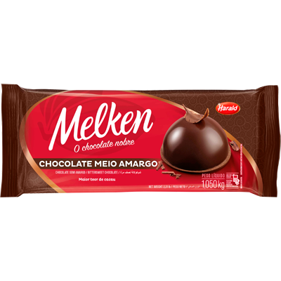 Barra de chocolate Meio Amargo 1,050kg Harald/Melken  UN