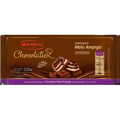 Barra de chocolate meio amargo 1kg Mavalerio  UN
