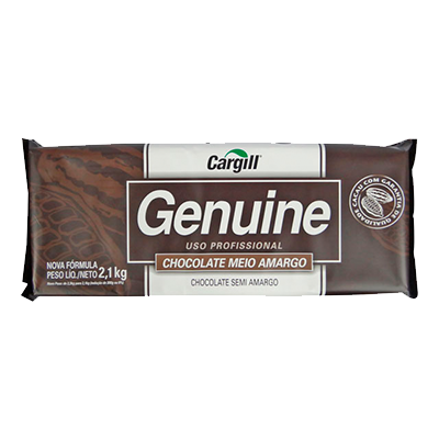Barra de chocolate meio amargo 2,1kg Genuine UN