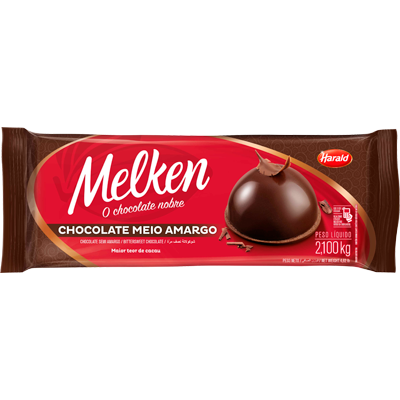 Barra de chocolate meio amargo 2,3kg Harald/Melken UN