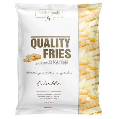 Batata Palito ondulada congelada 2,5kg Quality Fries/Crinkle pacote PCT