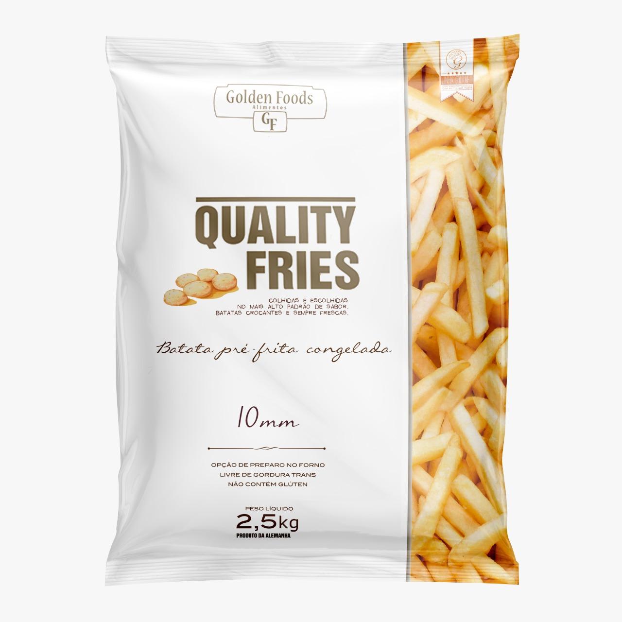 Batata Palito tradicional 10x10mm congelada 2,5kg Quality Fries pacote PCT