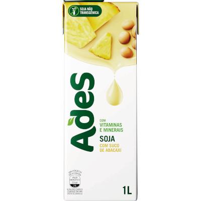 Bebida a base de soja sabor abacaxi 1Litro Ades Tetra Pak UN