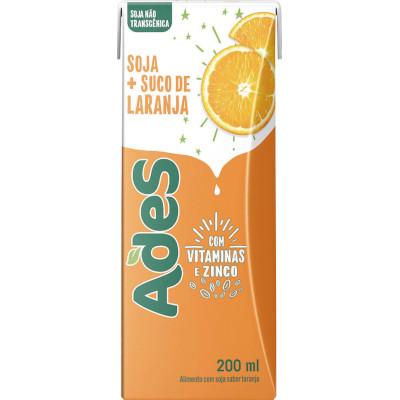 Bebida a base de soja sabor laranja Tetra Pak 200ml Ades UN