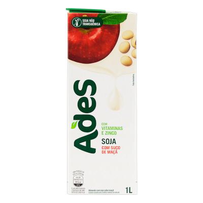 Bebida a base de soja sabor maçã 1Litro Ades Tetra Pak UN