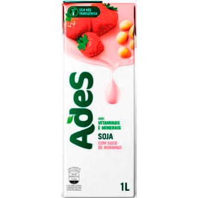 Bebida a base de soja sabor morango Tetra Pak 1Litro Ades UN