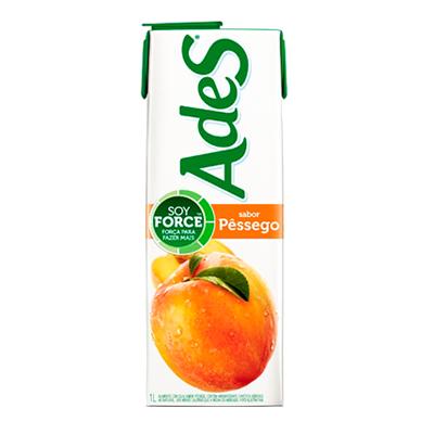 Bebida a base de soja sabor pêssego Tetra Pak 1Litro Ades UN