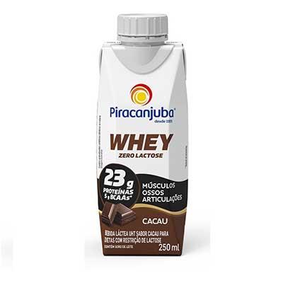 Bebida láctea zero lactose whey cacau 250ml Piracanjuba Tetra Pak UN