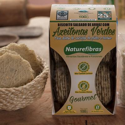 Biscoito de arroz com azeitonas verdes sem glúten e sem lactose pacote 100g Naturefibras UN