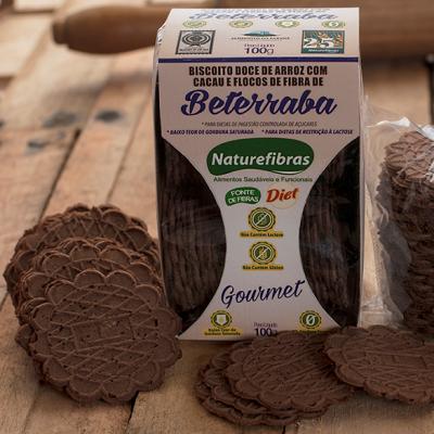 Biscoito de arroz com cacau e fibras de beterraba diet sem glúten e sem lactose 100g Naturefibras pacote PCT