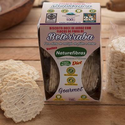 Biscoito de arroz com fibras de beterraba diet sem glúten e sem lactose pacote 100g Naturefibras PCT