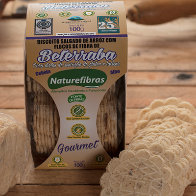 Biscoito de arroz com flocos de fibra de beterraba sem glúten e sem lactose 100g Naturefibras pacote PCT