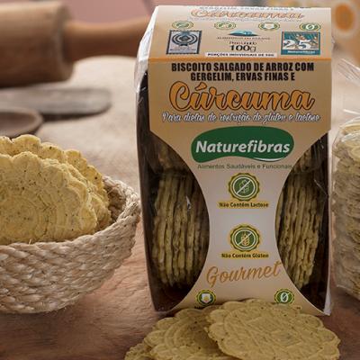 Biscoito de arroz com gergelim, ervas finas e cúrcuma sem glúten e sem lactose pacote 100g Naturefibras PCT