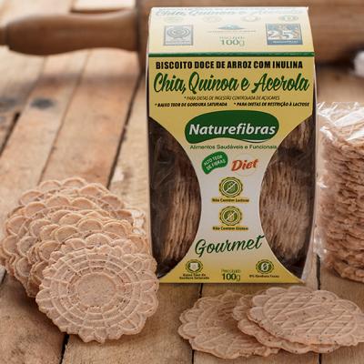 Biscoito de arroz com inulina e chia, quinoa e acerola diet sem glúten e sem lactose pacote 100g Naturefibras PCT