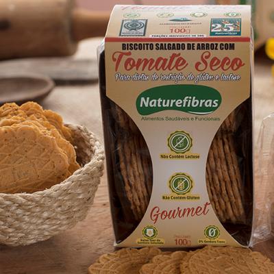Biscoito de arroz com tomate seco sem glúten e sem lactose pacote 100g Naturefibras PCT
