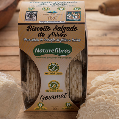 Biscoito de arroz sem glúten e sem lactose 100g Naturefibras pacote PCT