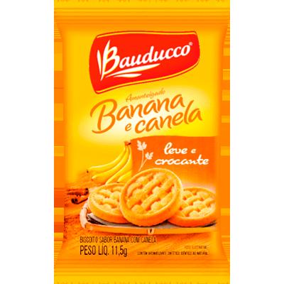 Biscoito doce amanteigado banana e canela unidades de 10 a 13g Bauducco em sachês UN
