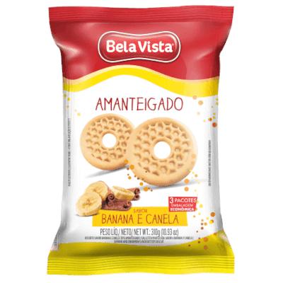 Biscoito doce amanteigado banana e canela 310g Bela Vista pacote PCT