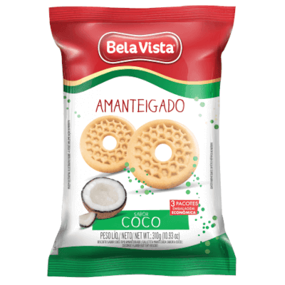 Biscoito doce amanteigado coco 310g Bela Vista pacote PCT