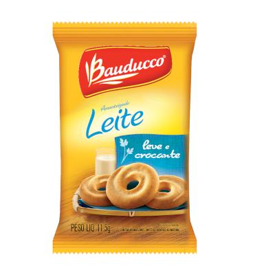 Biscoito doce amanteigado leite unidades de 10 a 13g Bauducco em sachês UN