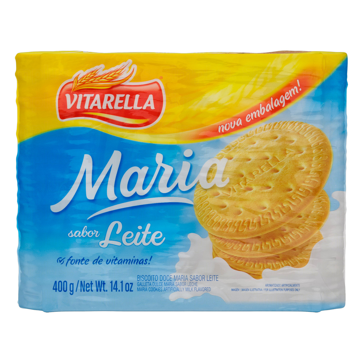 Biscoito doce Maria ao Leite 400g Vitarella pacote PCT