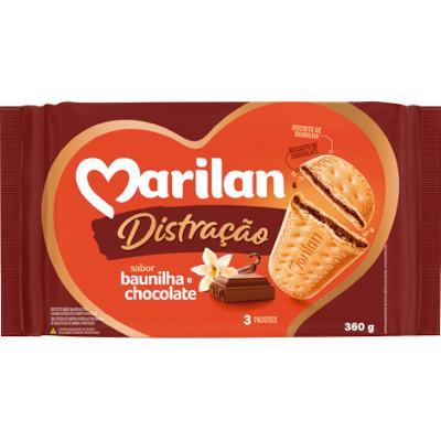 Biscoito doce sabor baunilha com recheio de chocolate pacote 360g Marilan/Distração PCT