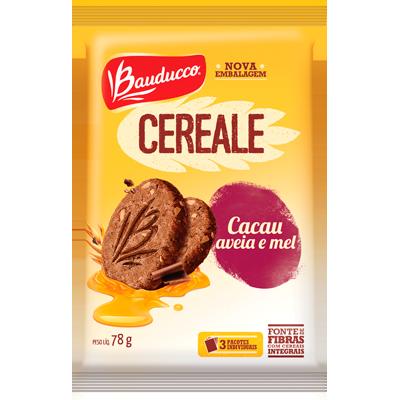 Biscoito integral cacau, aveia e mel 78g Bauducco/Cereale pacote PCT