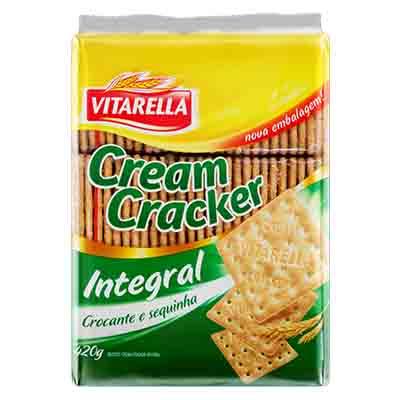 Biscoito integral cream cracker 420g Vitarella pacote PCT