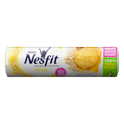 Biscoito integral sabor aveia e mel pacote 200g Nesfit PCT
