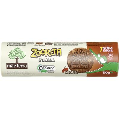Biscoito integral sabor cacau 110g Zooreta/Mãe Terra pacote PCT