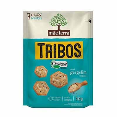 Biscoito integral sabor gergelim original 50g Mãe Terra pacote PCT