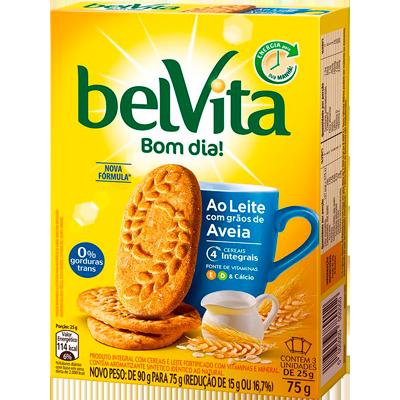 Biscoito integral sabor leite e aveia 75g Belvita caixa CX