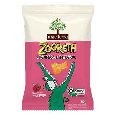 Biscoito integral sabor morango 20g Zooreta/Mãe Terra pacote PCT