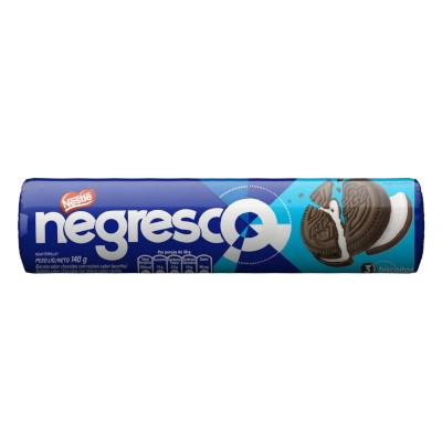 Biscoito recheado recheado sabor chocolate com baunilha 140g Negresco pacote PCT