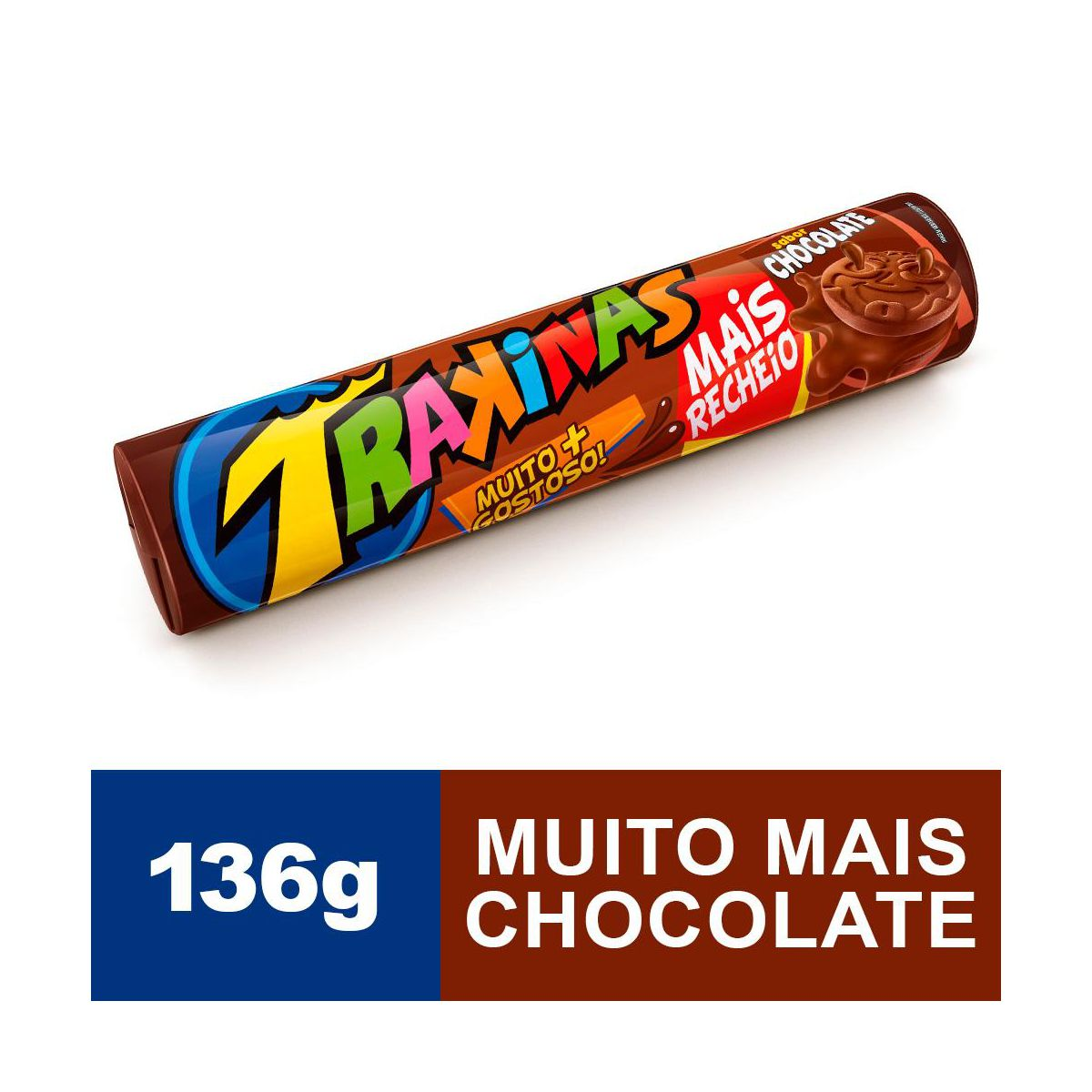 Biscoito recheado sabor chocolate mais 136g Trakinas pacote PCT