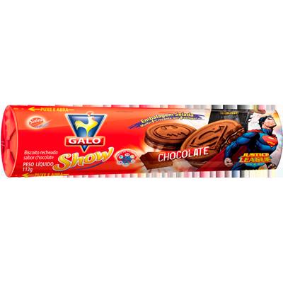 Biscoito recheado sabor chocolate pacote 112g Galo PCT
