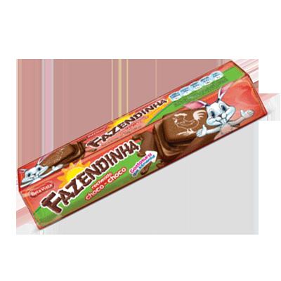 Biscoito recheado sabor Chocolate 130g Fazendinha pacote PCT