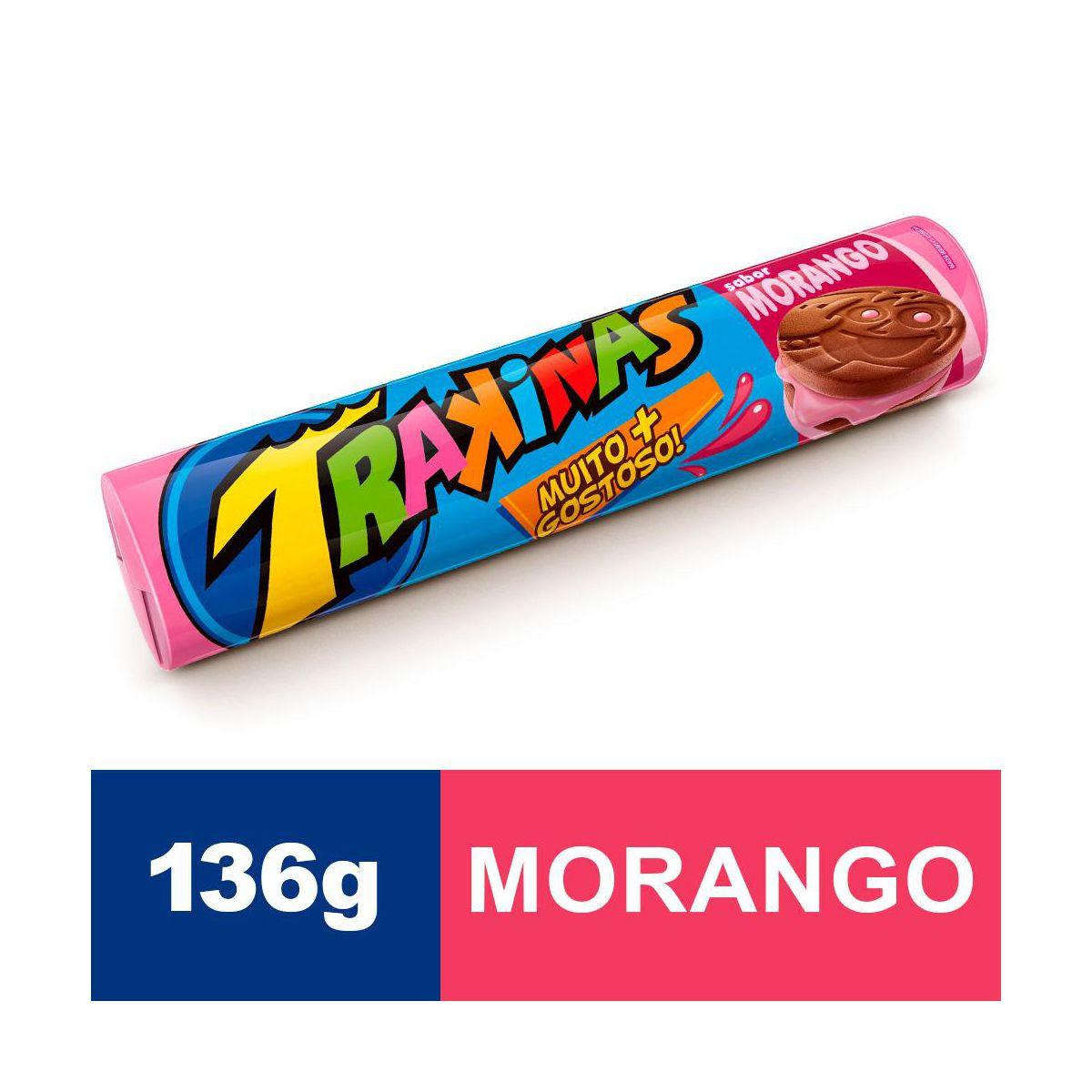 Biscoito recheado sabor morango mais pacote 136g Trakinas PCT