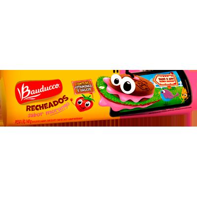 Biscoito recheado sabor morango pacote 104g Bauducco PCT