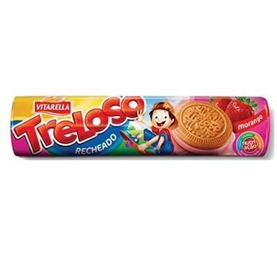 Biscoito recheado sabor morango 130g Treloso/Vitarella pacote PCT