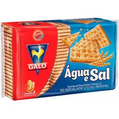 Biscoito salgado água e sal 360g Galo pacote PCT