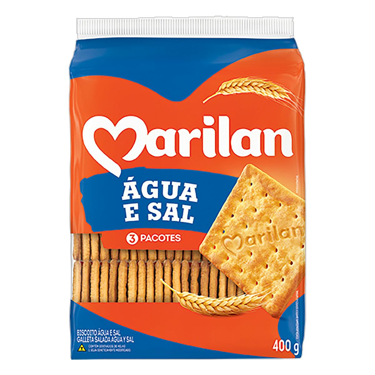 Biscoito salgado água e sal 400g Marilan pacote PCT