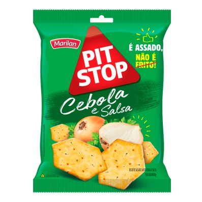 Biscoito salgado sabor cebola e salsa 80g Marilan/Pit Stop pacote PCT